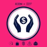 Mani che tengono simbolo soldi del dollaro Immagini Stock Libere da Diritti