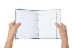 Mani che tengono spazio in bianco Fotografia Stock Libera da Diritti