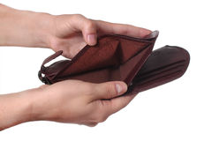 Mani che tengono un portafoglio vuoto Fotografie Stock