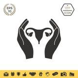 Mani che tengono utero femminile - icona di protezione Fotografie Stock Libere da Diritti