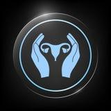 Mani che tengono utero femminile - icona di protezione Immagine Stock Libera da Diritti