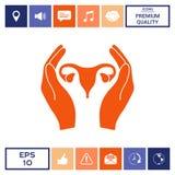 Mani che tengono utero femminile - icona di protezione Immagine Stock