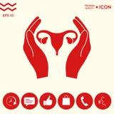 Mani che tengono utero femminile - icona di protezione Fotografie Stock