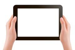 Mani che tengono vettore digitale del pc del ridurre in pani Fotografie Stock Libere da Diritti