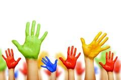 Mani Colourful isolate fotografia stock libera da diritti