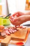 Mani con alimento Immagini Stock