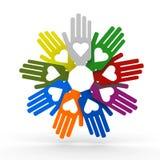 Mani con amore nel cerchio Immagine Stock