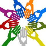 Mani con amore nel cerchio Fotografie Stock