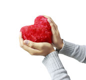 Mani con cuore Immagini Stock
