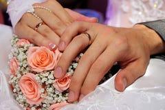 Mani con gli anelli di cerimonia nuziale fotografia stock libera da diritti