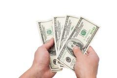 Mani con i dollari Immagini Stock