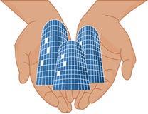 Mani con i grattacieli Royalty Illustrazione gratis