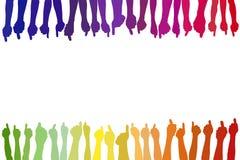 Mani con i pollici su come fondo Immagine Stock