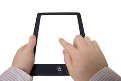 Mani con il calcolatore del touchpad Immagine Stock