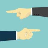 Mani con il dito che indica a destra e a sinistra Immagine Stock