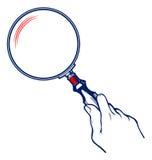 Mani con il Magnifier illustrazione di stock