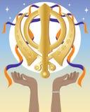 Mani con il simbolo sikh Illustrazione Vettoriale