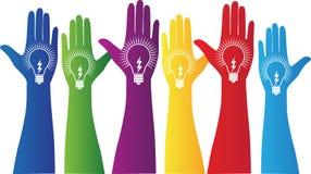 Mani con la lampadina Immagine Stock