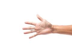 Mani con le dita Asia maschio su un fondo bianco Immagini Stock Libere da Diritti