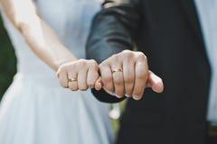 Mani con le fedi nuziali 1619 Fotografie Stock