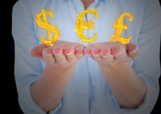 mani con le icone del fuoco dei soldi più Priorità bassa nera Fotografia Stock Libera da Diritti