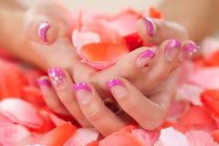 Mani con le rose Immagine Stock Libera da Diritti