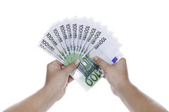 Mani con soldi Fotografie Stock Libere da Diritti