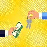 Mani con soldi e le chiavi Scambio del concetto Stile piano di progettazione Fotografia Stock