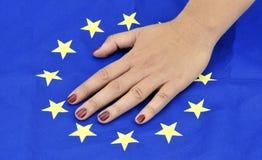 Mani con UE bandiera l'11 settembre 2016 Immagini Stock