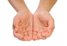 Mani a coppa della giovane donna - isolata Immagini Stock Libere da Diritti