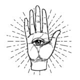 Mani d'annata con tutto l'occhio vedente Illustrati impreciso disegnato a mano illustrazione di stock
