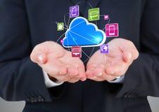mani dei businessmans con la nuvola con le icone dell'applicazione più Fotografia Stock Libera da Diritti