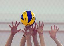 Mani dei giocatori di pallavolo delle donne che bloccano palla Immagine Stock