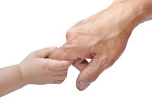 Mani del bambino e dell'adulto Fotografia Stock Libera da Diritti