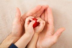Mani del bambino e dell'adulto che tengono cuore rosso immagine stock