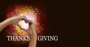 Mani del cuore di ringraziamento Fotografie Stock Libere da Diritti