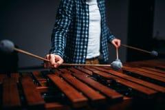 Mani del giocatore dello xilofono con i bastoni, suoni di legno Immagine Stock Libera da Diritti