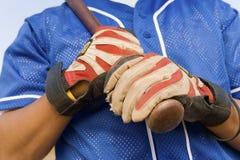 Mani del giocatore di baseball Fotografie Stock
