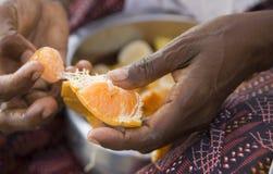 Mani del mandarino indiano della sbucciatura della donna Immagini Stock Libere da Diritti