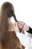 Mani del parrucchiere che fanno una treccia una criniera lunga Fotografie Stock Libere da Diritti