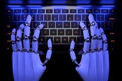 Mani del robot che scrivono sulla tastiera Mano robot del cyborg facendo uso del computer della tastiera 3D rendono l'illustrazio illustrazione vettoriale