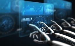 Mani del robot che toccano gli schermi virtuali sopra il nero Fotografia Stock Libera da Diritti