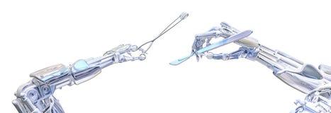 Mani del robot del chirurgo che tengono gli strumenti della chirurgia Concetto robot futuro della chirurgia Illustrazione robot d illustrazione vettoriale
