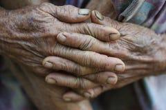 Mani del ` s della donna anziana Immagine Stock