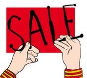 Mani del segno di vendita Immagine Stock Libera da Diritti
