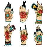 Mani del tatuaggio della vecchia scuola Fotografia Stock