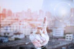 Mani del touch screen di affari Immagine Stock Libera da Diritti