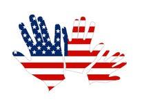 Mani dell'estratto della bandierina dell'America Stati Uniti Fotografia Stock