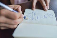 Mani dell'uomo d'affari con il taccuino di scrittura della penna sulla fine di legno della tavola dello scrittorio su Concetto di Fotografie Stock