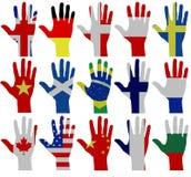 Mani della bandiera Immagini Stock Libere da Diritti